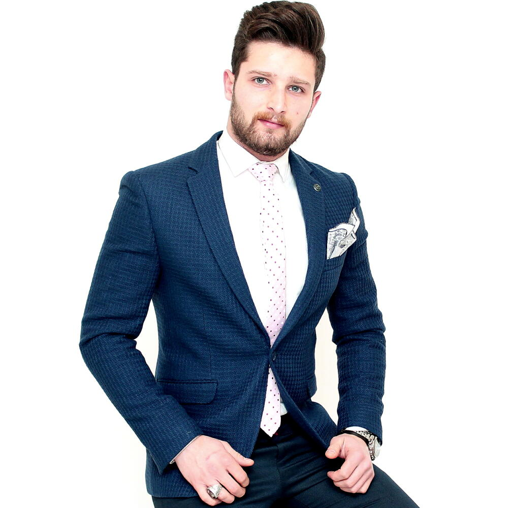 テーラードジャケット ブレザー ブルー 青 メンズ ビジネス ジャケパン 一つボタン 細身 タイト シルエット 背抜き 春秋冬