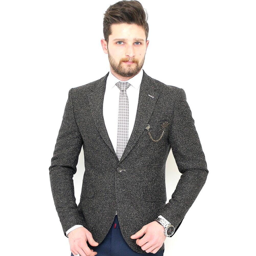 ツイード テーラードジャケット ブレザー 秋冬 紺ベージュ ビジネス ジャケパン 一つボタン 細身 タイト シルエット ツイード