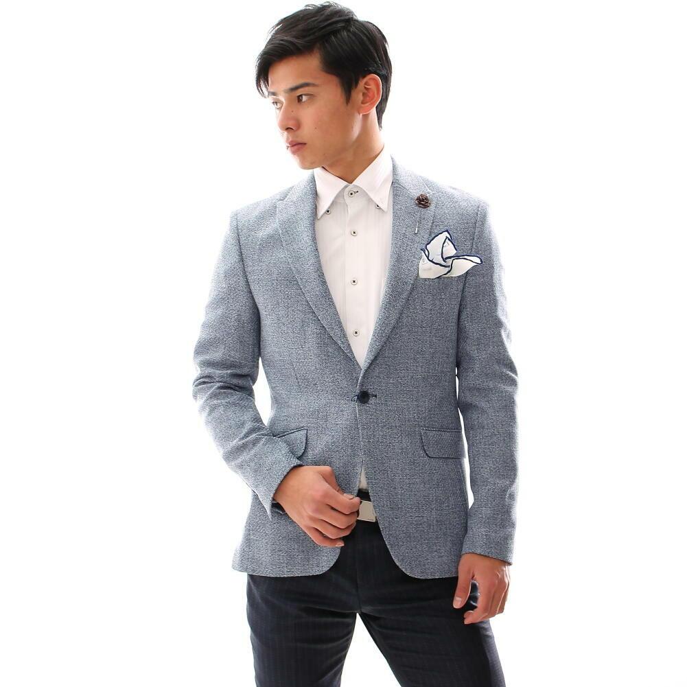 ツイード テーラードジャケット ブルー ブレザー 秋冬春 紺白 ジャケパン ビジネス 一つボタン 大きいサイズも入荷