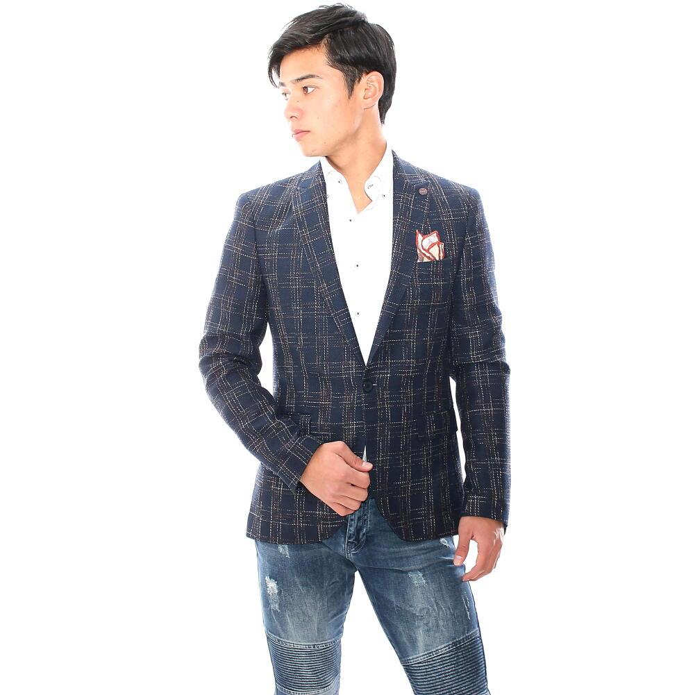 テーラードジャケット ブレザー ネイビー 紺 かすれチェック メンズ ジャケパン ビジネス 一つボタン 細身 タイト 春夏秋