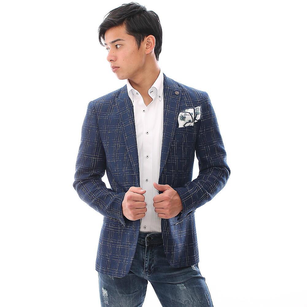 テーラードジャケット ブレザー ブルー かすれチェック メンズ ジャケパン ビジネス 一つボタン 細身 タイト 春夏秋