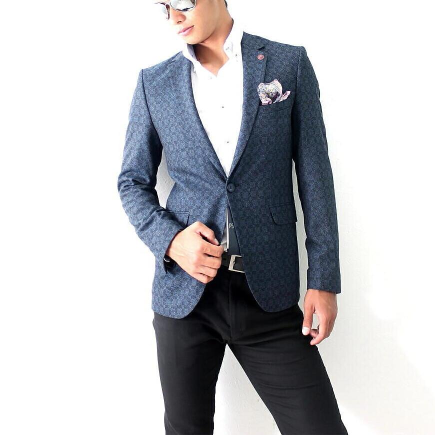 テーラードジャケット ブレザー ストレッチ メンズ 紺 ネイビー ジャケパン 一つボタン 細身 タイト シルエット