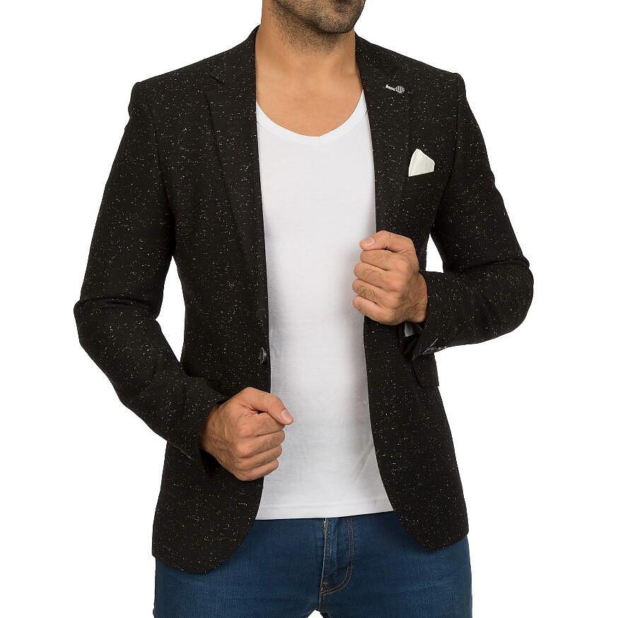 テーラードジャケット ブレザー メンズ 黒 ビジネス ジャケパン 春秋冬 細身 タイト ウール ネップ S/M/L/XL/XXL