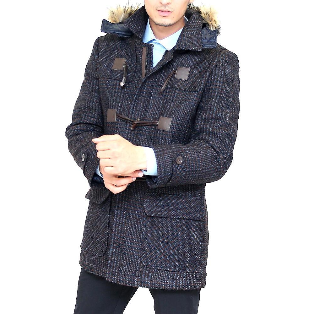 ダッフルコート メンズ ツイード ハーフコート 中綿キルティング ウール メンズ 冬/紺/茶 大きいサイズ も入荷