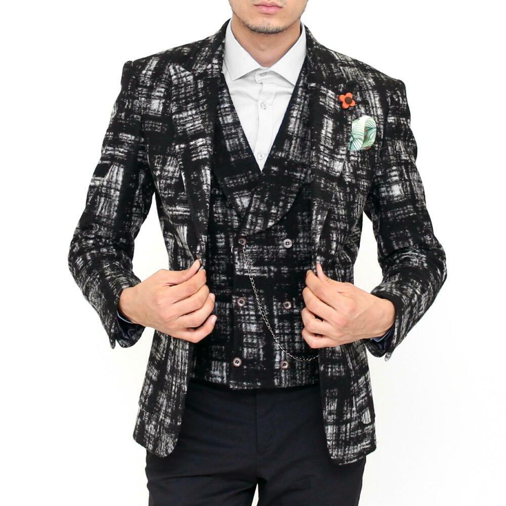 テーラードジャケット 冬 チェック メンズ ブレザー ウール 黒グレー ピークドラペル ワイドラペル ジャケパン S/M/L/XL/XXL/XXXL 大きいサイズも入荷 柄物