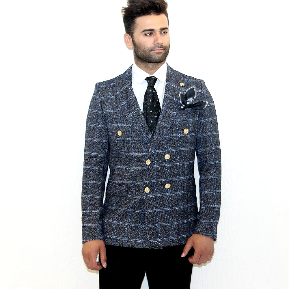 テーラードジャケット ダブル ツイード ブレザー メンズ 背抜き グレー ブルーチェック ツイード ジャケパン ビジネス ジャケット XXXL大きいサイズも入荷