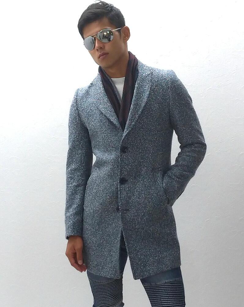 チェスターコート ハーフコート メンズ ツイードコート メンズ 冬 ウール ライトブルー 水色 ピークドラペル 大きいサイズも入荷 細身 タイト