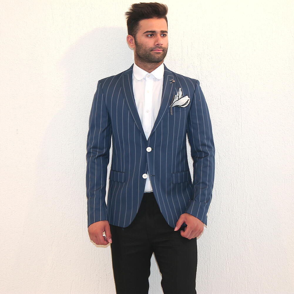 テーラードジャケット メンズ ストライプ ブルー ブレザー ピークドラペル サイドベンツ 二つボタン スリム 細身 タイト XXXL 大きいサイズも入荷 秋春 薄手 ジャケパン ビジネスジャケット 結婚式 2次会