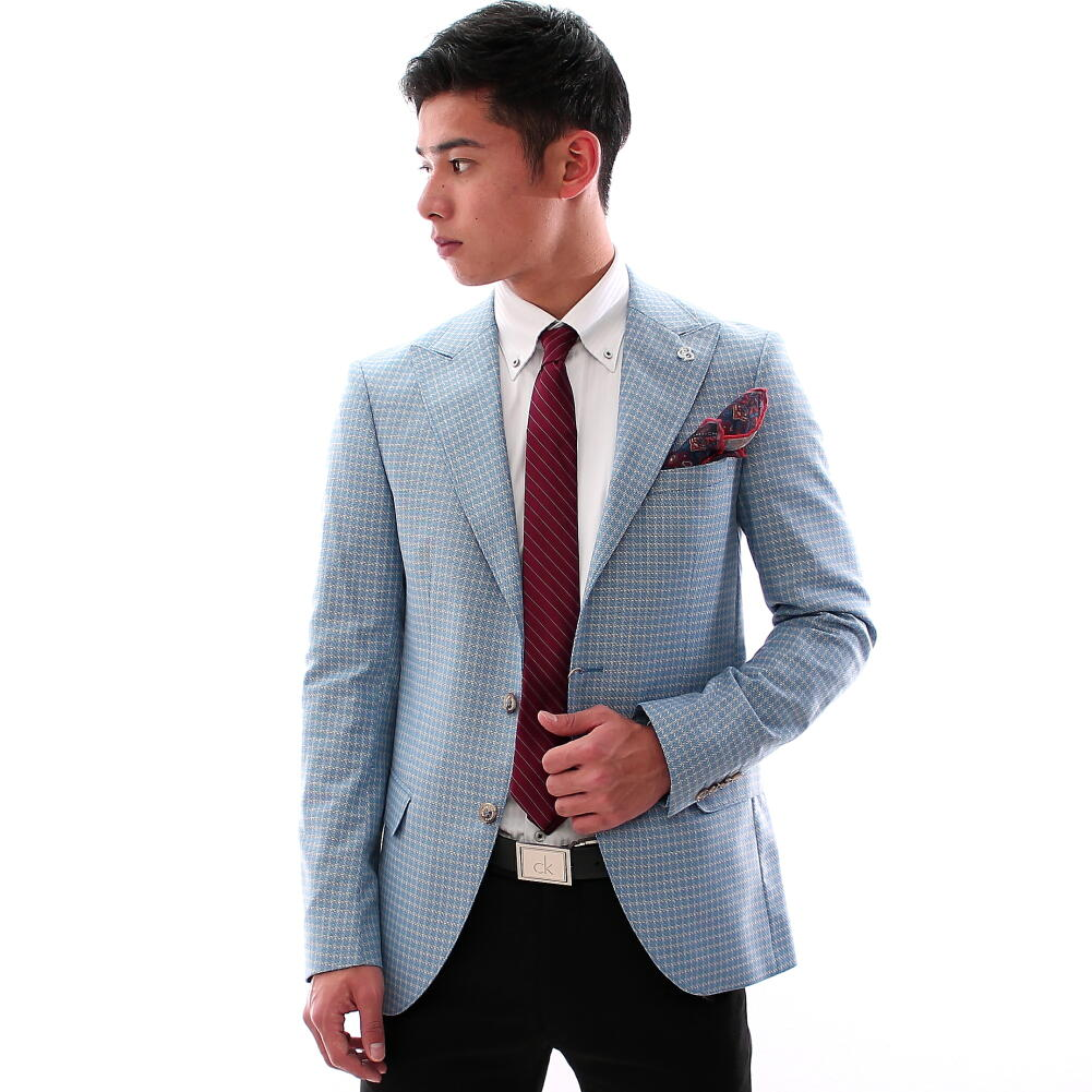 テーラードジャケット ブルー チェック ブレザー メンズ ベージュ ピークドラペル サイドベンツ 二つボタン 大きいサイズも入荷 秋冬春 ジャケパン ビジネスジャケット 結婚式 2次会