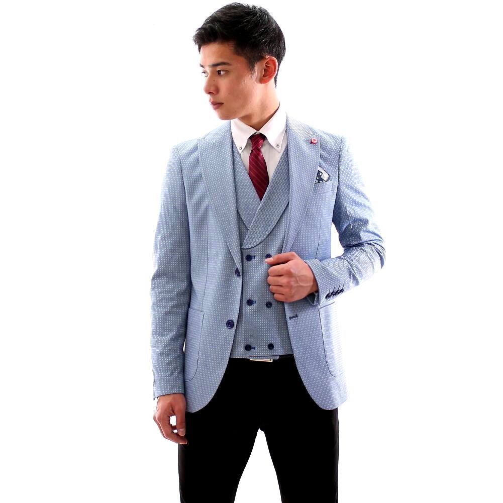テーラードジャケット ブルー 青 セットアップ ジレ ブルー ダブル メンズ チェック ブレザー 春秋冬 ジャケパン 大きいサイズも入荷