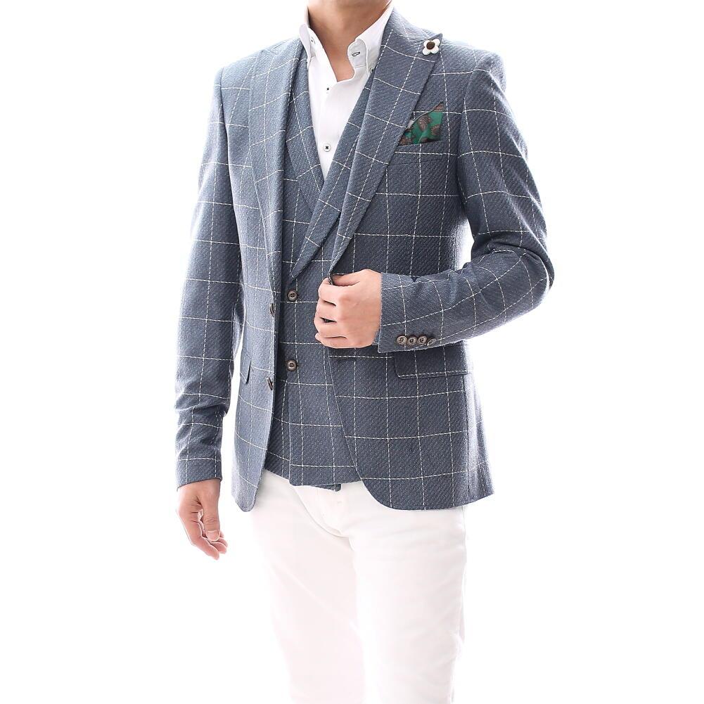 テーラードジャケット ブルー 秋冬 チェック ブレザー ジレ セットアップ 青 メンズ ジャケパン ビジネス 二つボタン ウール 大きいサイズも入荷 結婚式二次会