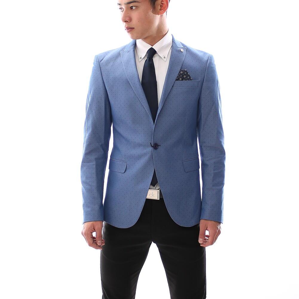 テーラードジャケット メンズ ブルー ストレッチ ブレザー ジャケパン ピークドラペル ドット柄 水玉 大きいサイズも入荷 春秋冬