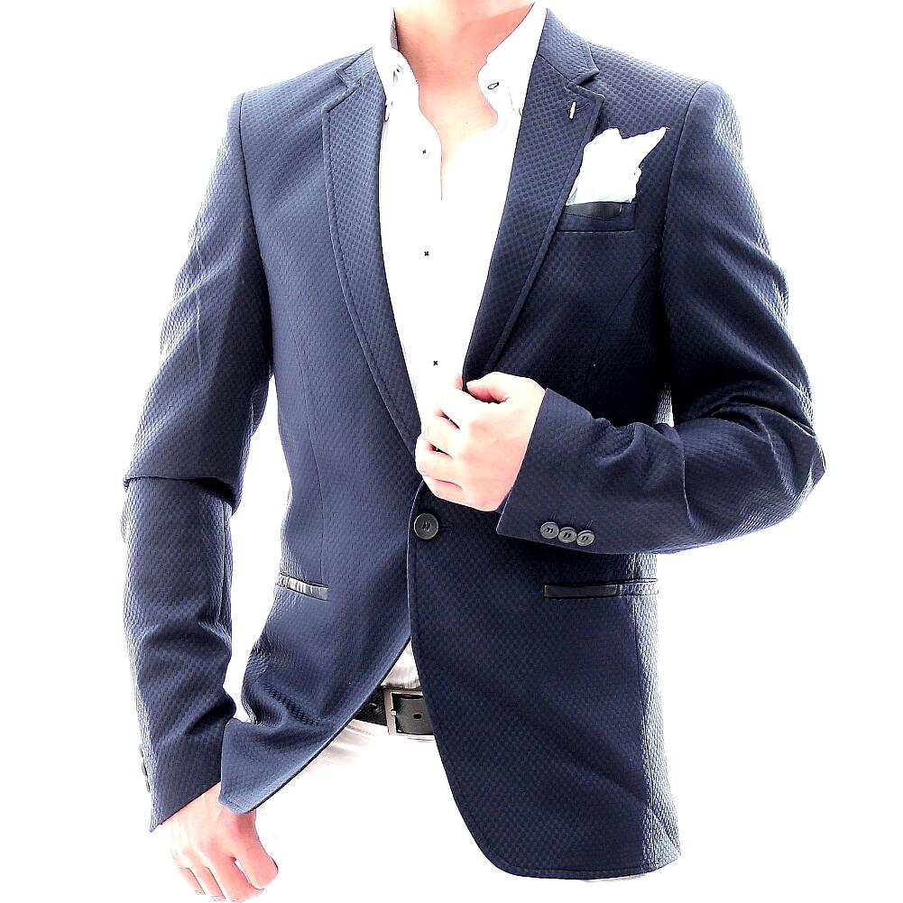 テーラードジャケット メンズ ネイビー 紺 ブレザー タイト 春秋冬 ビジネス ジャケット ジャケパン 大きいサイズも入荷 一つボタン