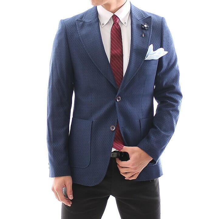 テーラードジャケット メンズ 冬 ウール 紺ブレザー ネイビー 柄 ピークドラペル ジャケパン ビジネスジャケット 結婚式 2次会 XXXL大きいサイズも入荷