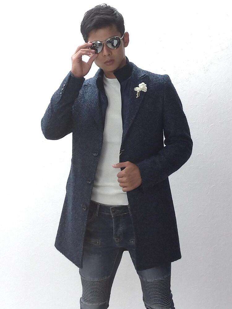 チェスターコート ハーフコート ツイード コート メンズ 冬 ウール ライトブルー 紺 ネイビー ピークドラペル 大きいサイズも入荷