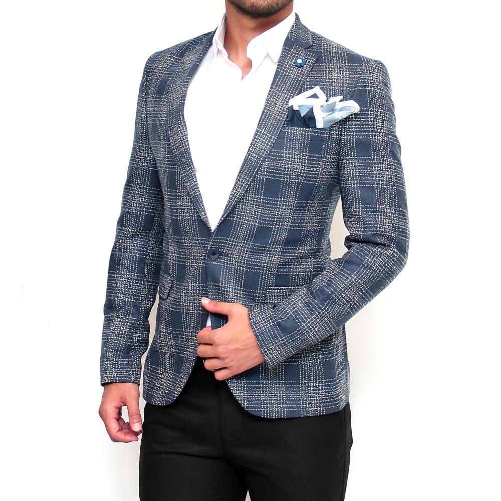 テーラードジャケット メンズ ブルー 青 かすれ チェック ブレザー ジャケパン 秋冬春 ビジネスジャケット XXXL まで 大きいサイズ も入荷