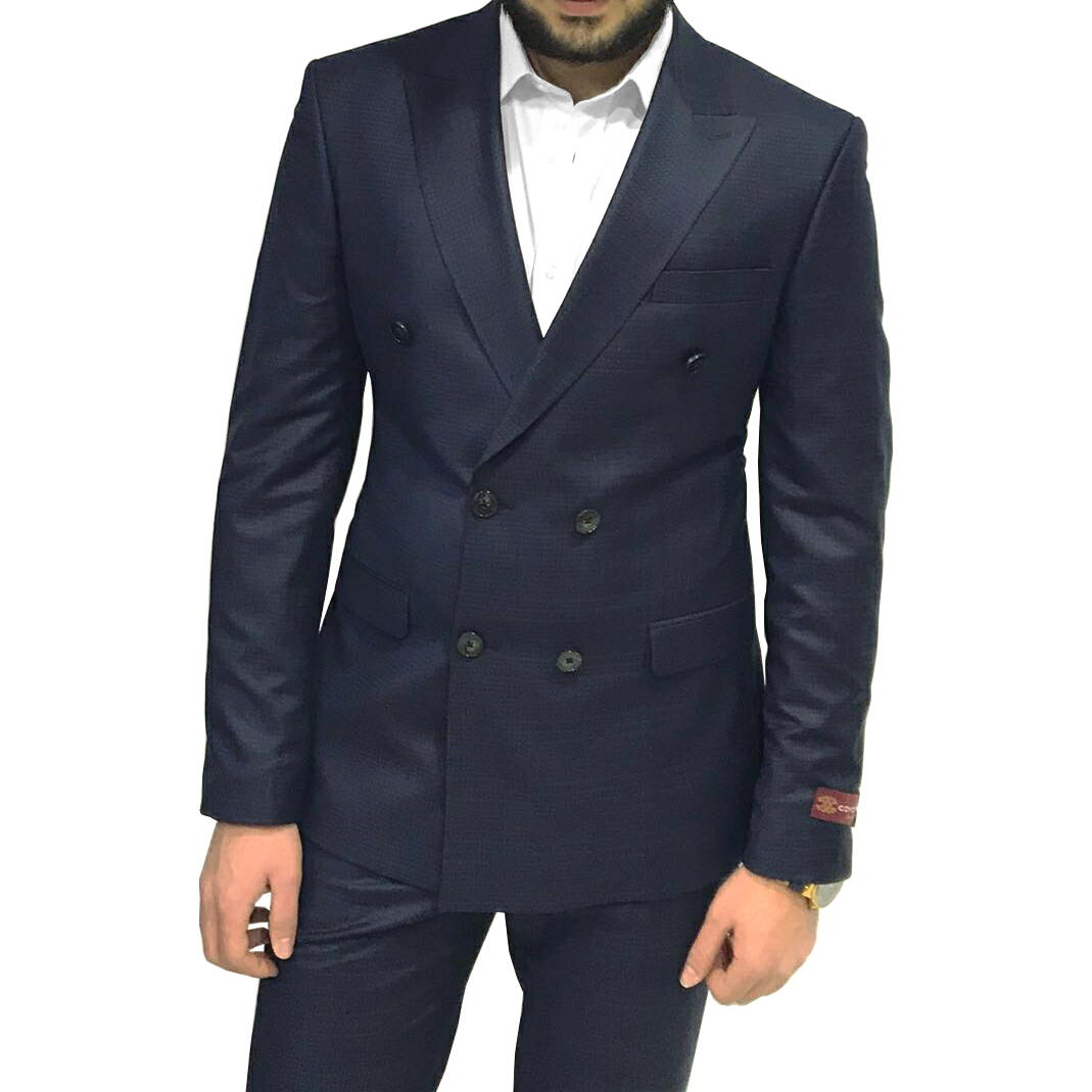 スーツ メンズ ビジネス スリム 紺 テーラードジャケット ダブル チェック メンズ 結婚式 二次会 入学式 入園式 卒業式 タイト 細身 大きいサイズ