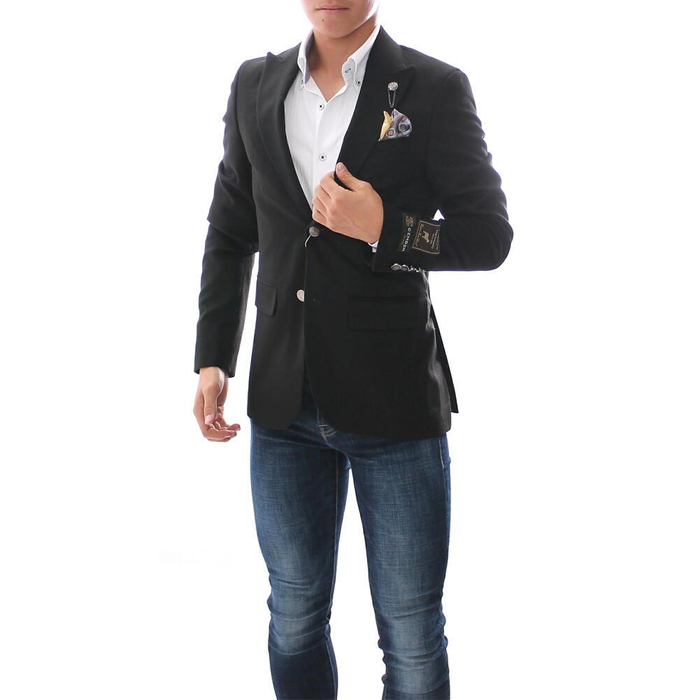 テーラードジャケット メンズ 黒 ブレザー ジャケパン 秋冬 ウール 二つボタン ピークドラペル サイドベンツ 別珍 ベロア ベルベッド 小さいサイズ