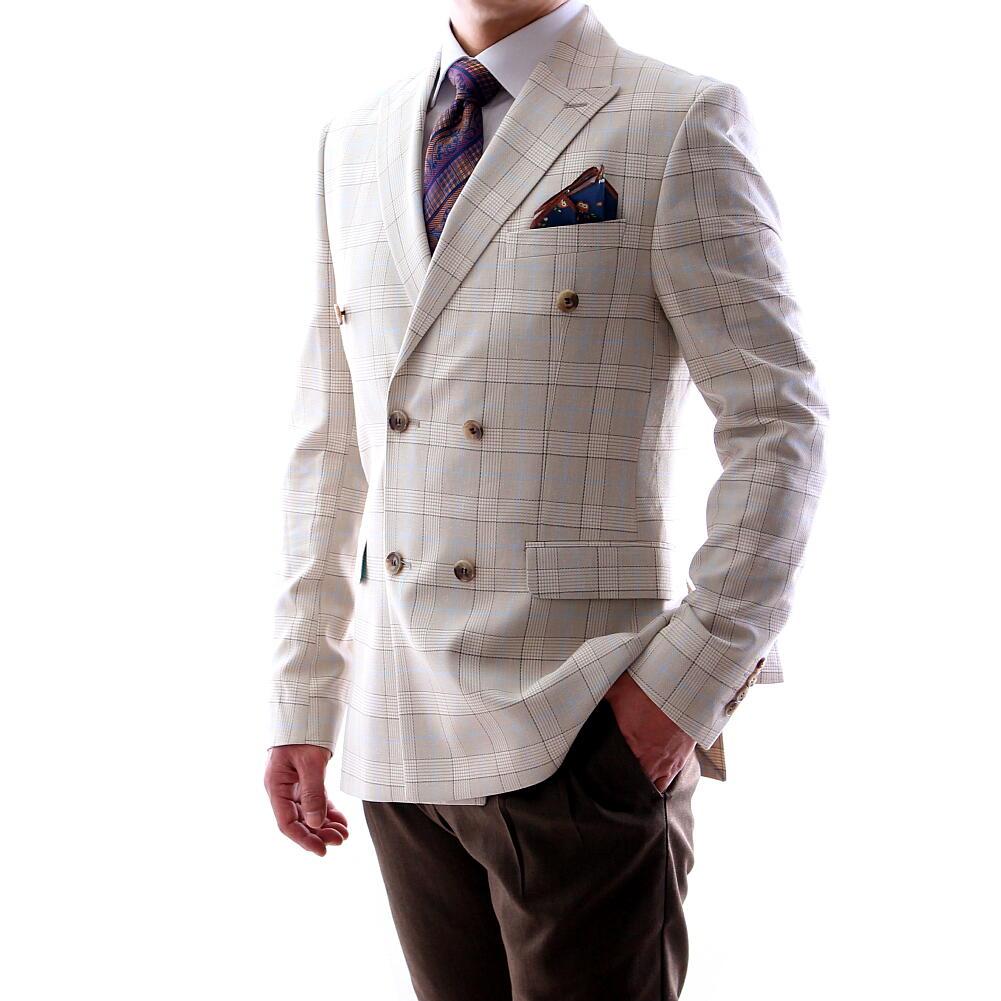 サマージャケット テーラードジャケット ダブル チェック ベージュ 夏/春/秋 メンズ ブレザー ジャケパン XXXL 大きいサイズも入荷 ビジネスジャケット クールビズ