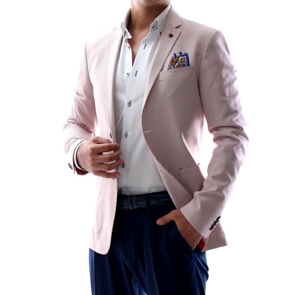 サマージャケット テーラードジャケット ストライプ 白/エンジ 春/夏/秋 メンズ ブレザー ジャケパン 二つボタン XXXL 大きいサイズも入荷 ビジネスジャケット