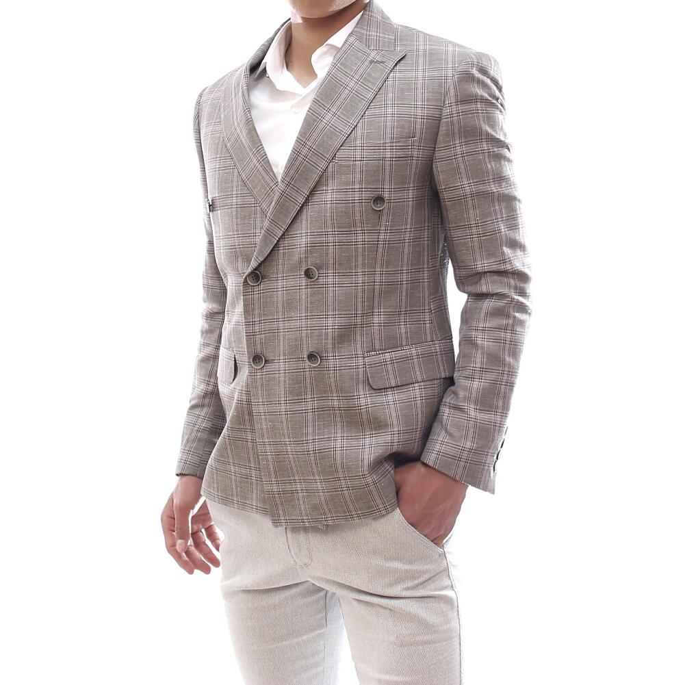 サマージャケット テーラードジャケット ダブル 夏 チェック グレージュ ブレザー メンズ ジャケパン 春秋 背抜き 大きいサイズ ビジネス