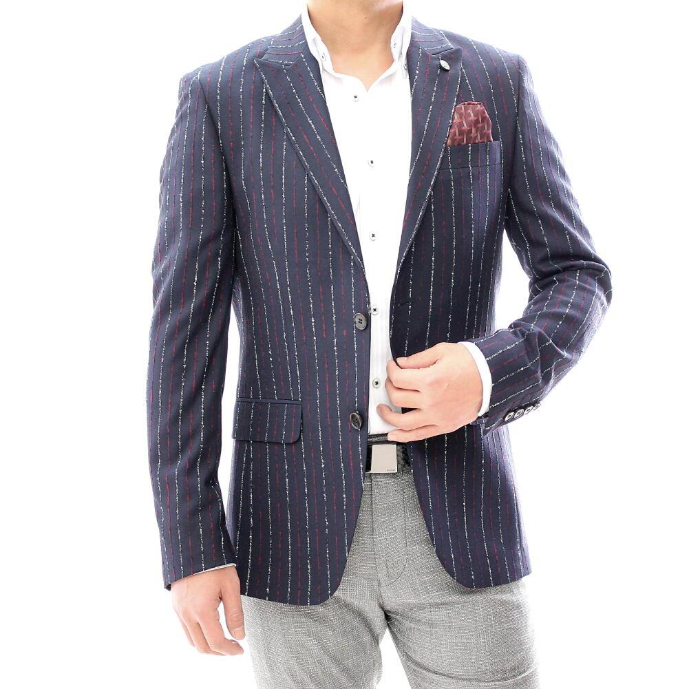 テーラードジャケット ネイビー 紺 ストライプ ブレザー メンズ ネイビー 紺 ジャケパン 二つボタン XXXL 大きいサイズも入荷 ビジネスジャケット