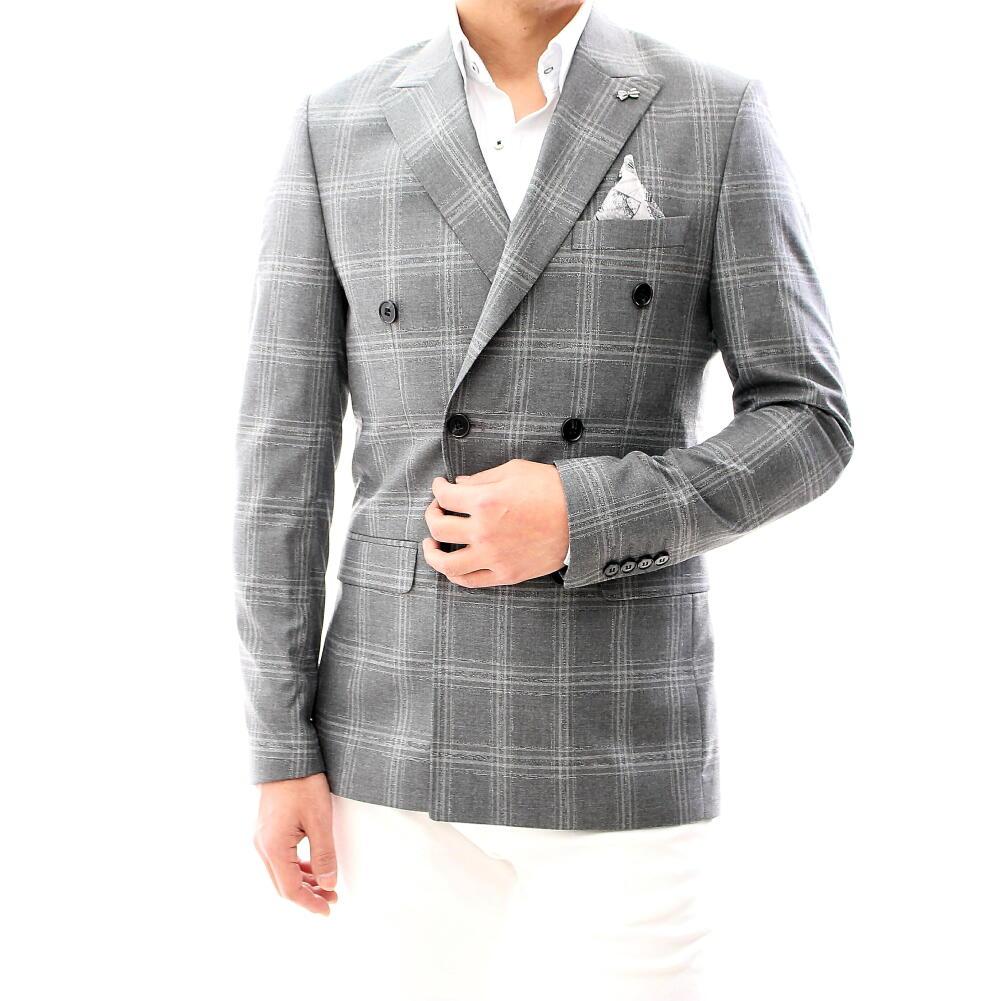 テーラードジャケット ダブル チェック グレー ストライプ ブレザー メンズ ジャケパン XXXL 大きいサイズも入荷 ビジネスジャケット
