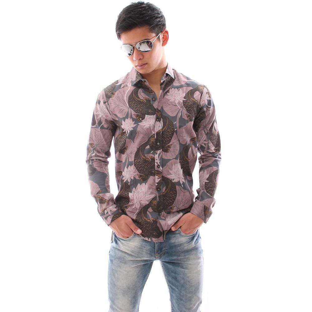 柄シャツ メンズ 長袖シャツ 鯉と蓮の花 カジュアルシャツ コットン XXL まで 大きいもサイズ入荷 春/夏/秋 父の日 プレゼント