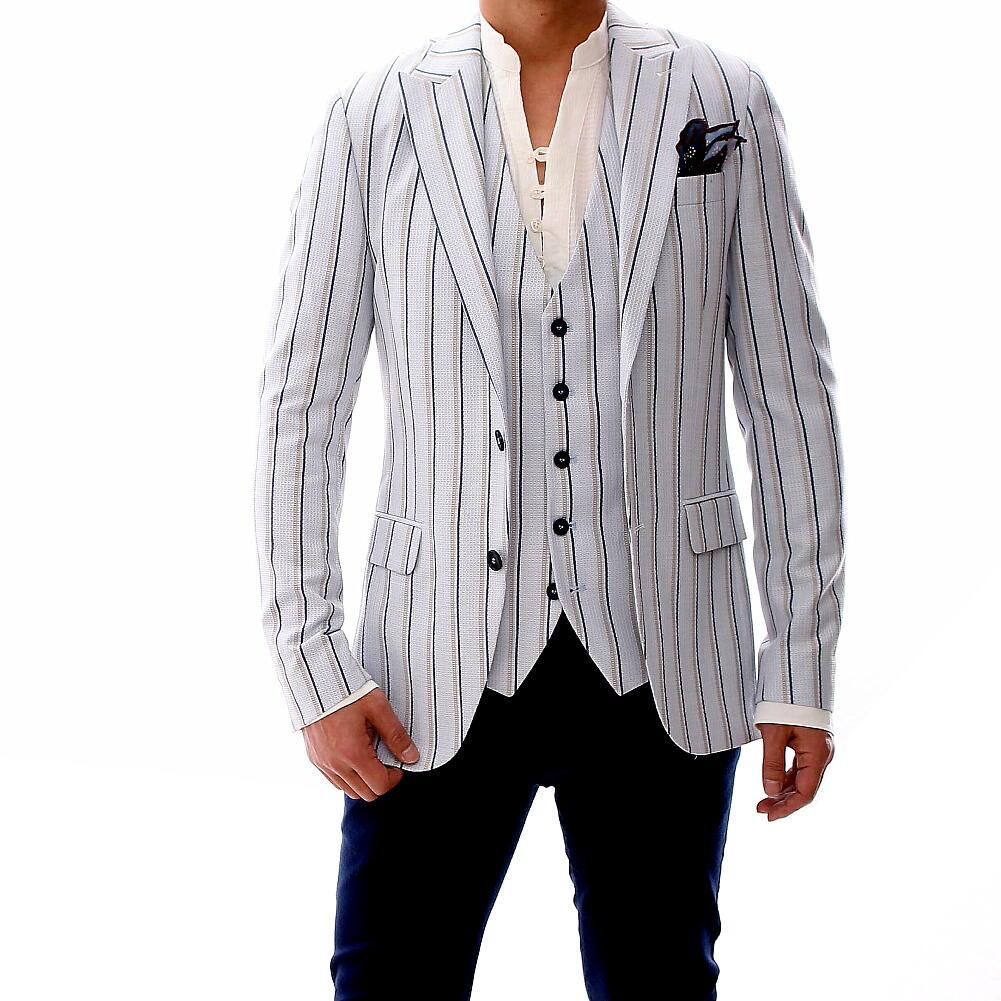 テーラードジャケット サマージャケット ブルー グレー ストライプ ブレザー メンズ ジャケパン 二つボタン XXXL 大きいサイズも入荷 夏 春