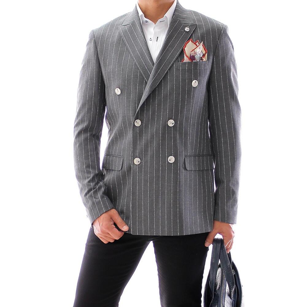 テーラードジャケット ストライプ ダブル ブレザー メンズ グレー サマージャケット 背抜き XXXL大きいサイズも入荷 ビジネスジャケット