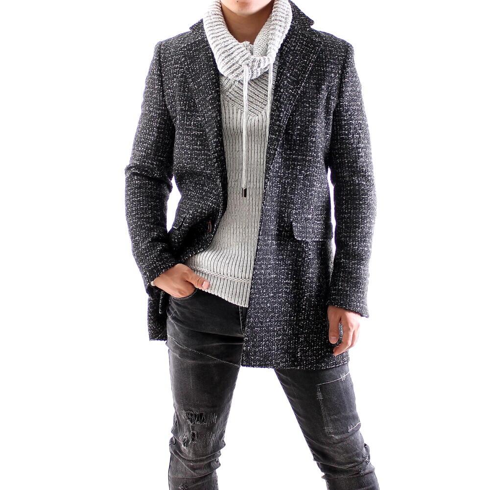 チェスターコート ツイード ハーフコート メンズ シングル 秋冬 ビジネス コート 大きいサイズ XXXL(4L)も入荷