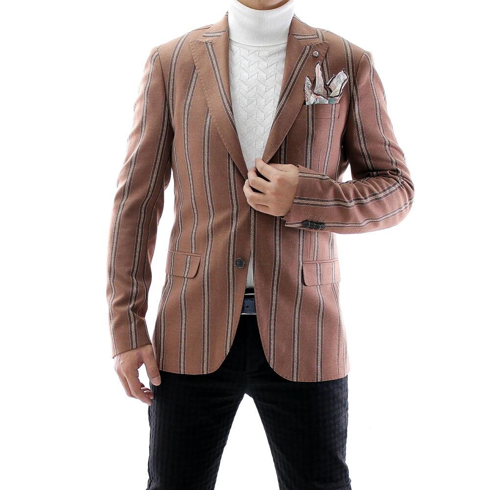テーラードジャケット ストライプ 茶 秋/冬 メンズ ブレザー ジャケパン 二つボタン XXXL 大きいサイズも入荷 ビジネスジャケット