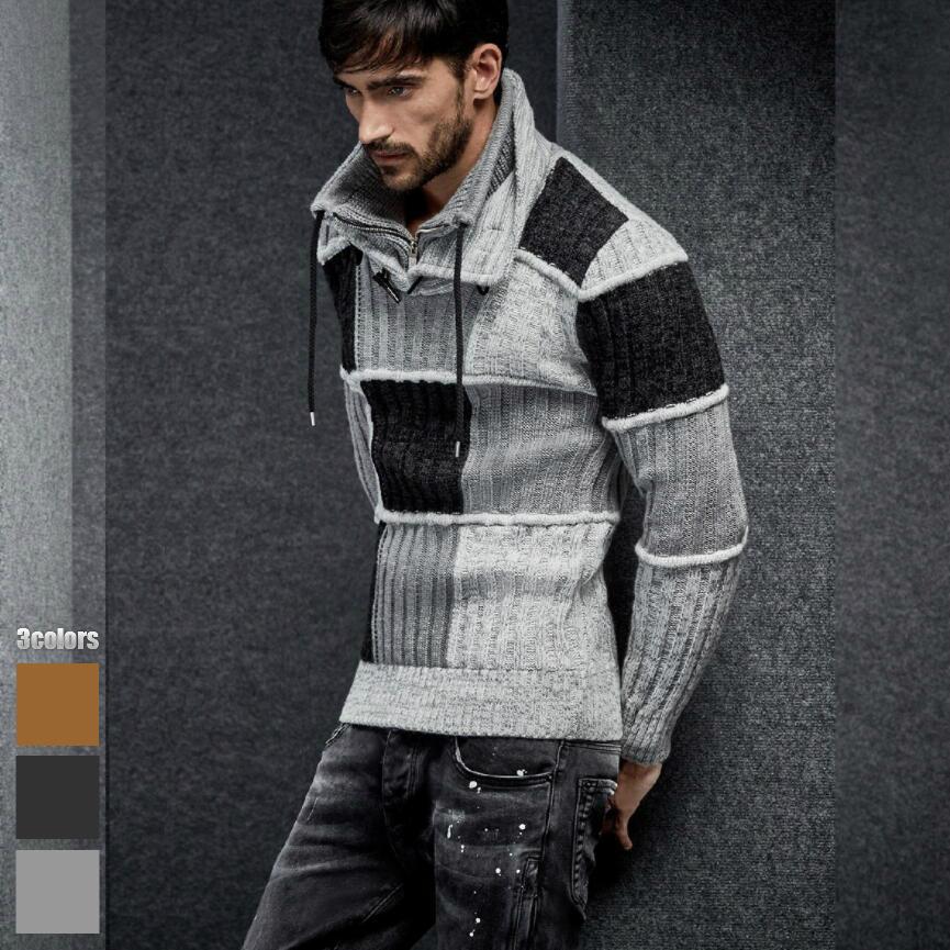 ハイネック ニット メンズ スタンドカラー セーター モックネック 2枚襟 グレー白黒 ハーフジップ ニット 大きいサイズも入荷
