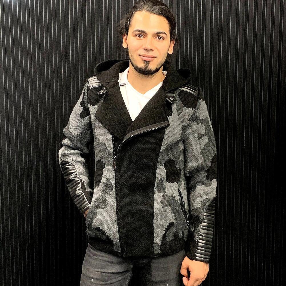 ニットジャケット ライダースジャケット ローゲージ セーター 迷彩 アウター 冬