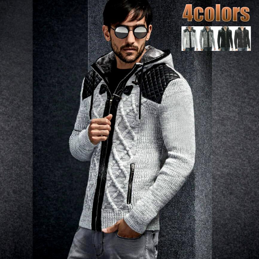 ニットパーカー ニットジャケット セーター メンズ ジップアップ 秋冬 白グレー黒 フード付きセーター ボア付き XXLまで 大きいサイズ も入荷