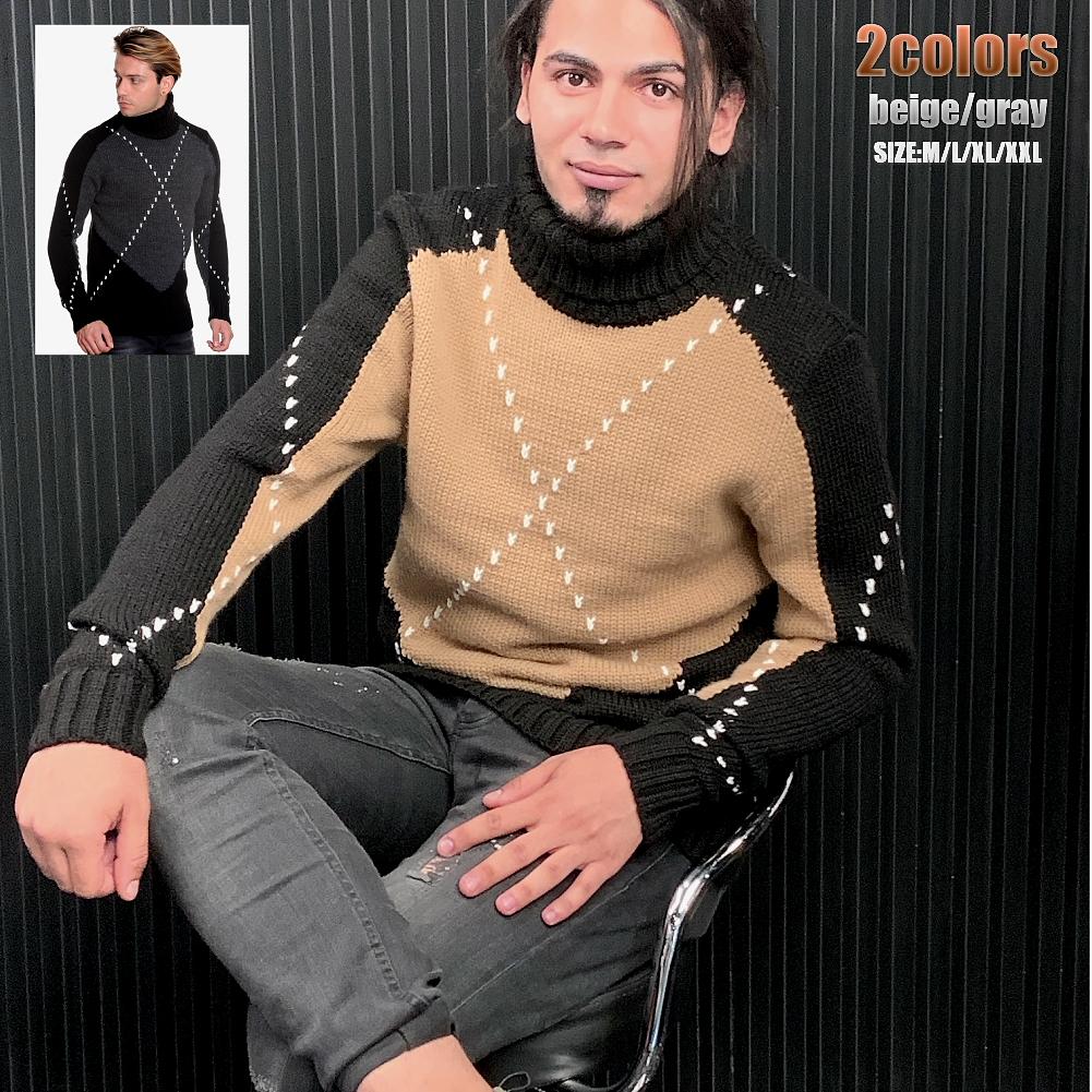 低価格 手編みの様なデザイン ローゲージニット 本店 セーター タートルネック ハイネック 黒グレーベージュ 大きいサイズも入荷 厚手 メンズ