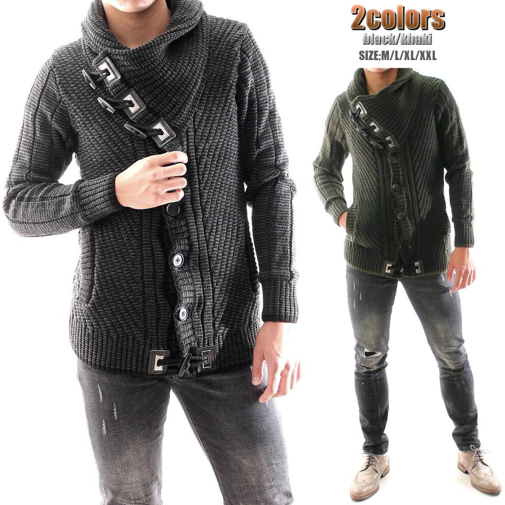 ハイネック ローゲージ ニット セーター ジャケット カーディガン バイアス編み チャコール カーキ/黒 メンズ ウール XXL大きいサイズも入荷