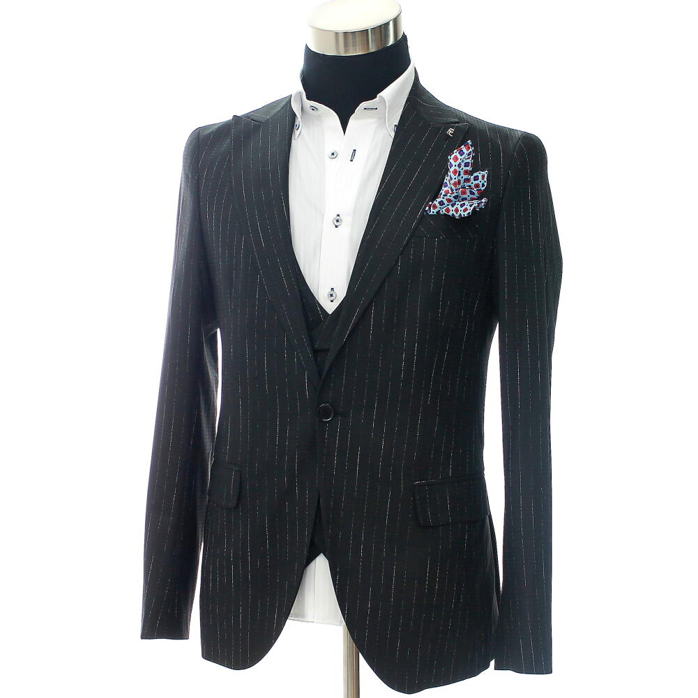 テーラードジャケット ストレッチ ブレザー ジレ セットアップ メンズ 薄地 ストライプ 黒 タイト 細身 結婚式 2次会 大きいサイズも入荷