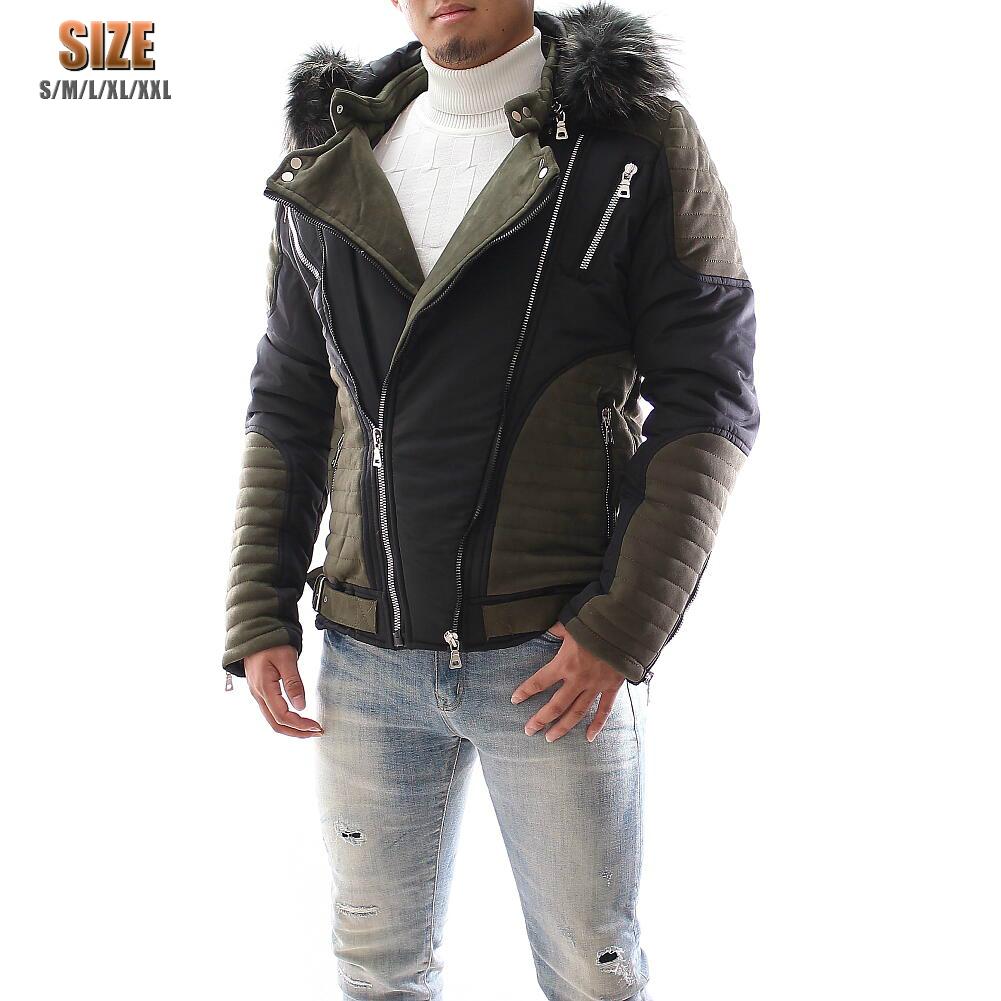 訳アリ/中綿ジャケット ライダースジャケット フード付き メンズ アウター 黒 Lサイズ