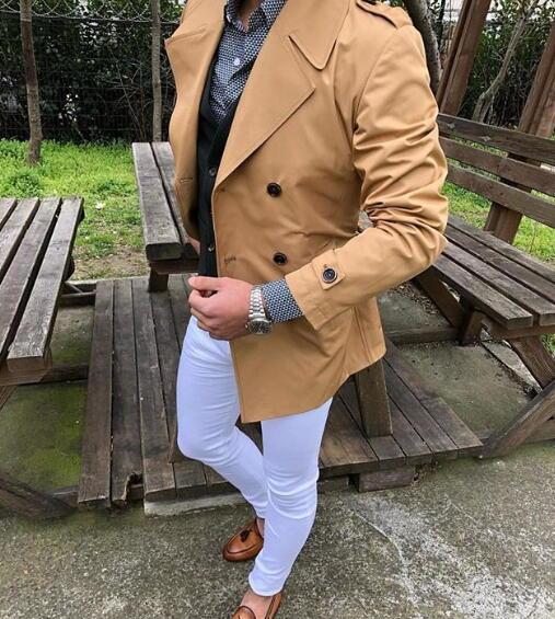 トレンチコート ショート丈 春 ダブル メンズ キャメル XXXLまで 大きいサイズも入荷 同型の紺も販売中!