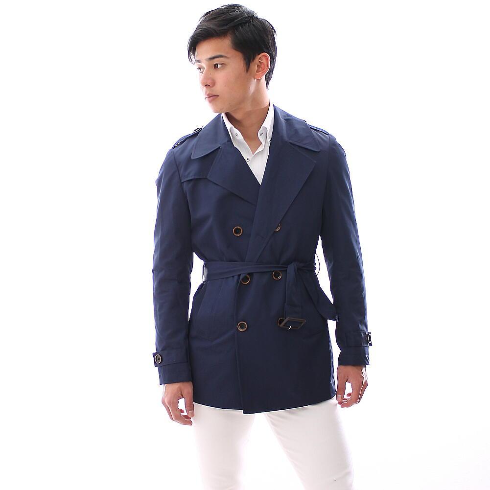 トレンチコート ショート丈 春 ダブル メンズ 紺 ネイビー XXXLまで 大きいサイズも入荷 同型のキャメルも販売中!