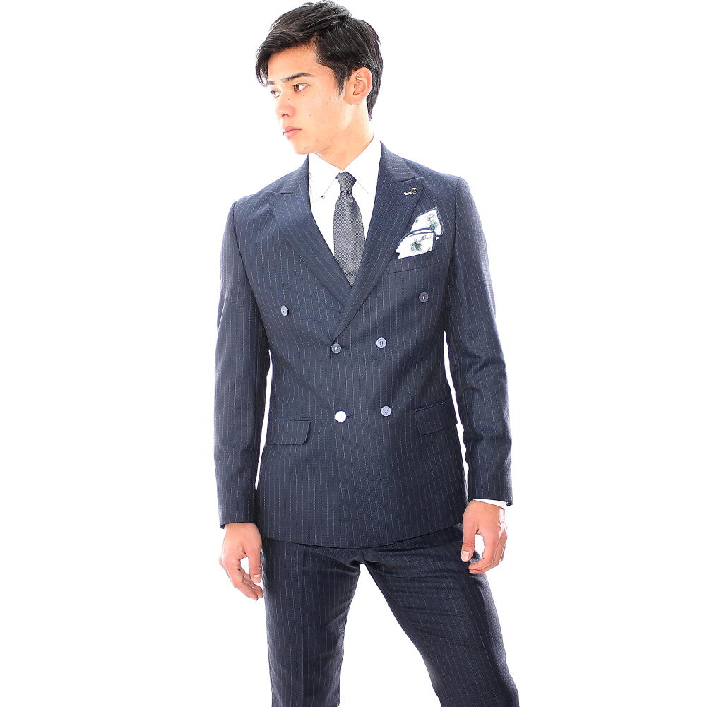 テーラードジャケット ダブル ブレザー メンズ ネイビー 紺 ストライプ タイト/スリムフィット メンズ ジャケパン 春秋 大きいサイズも入荷 ビジネスジャケット サイドベンツ