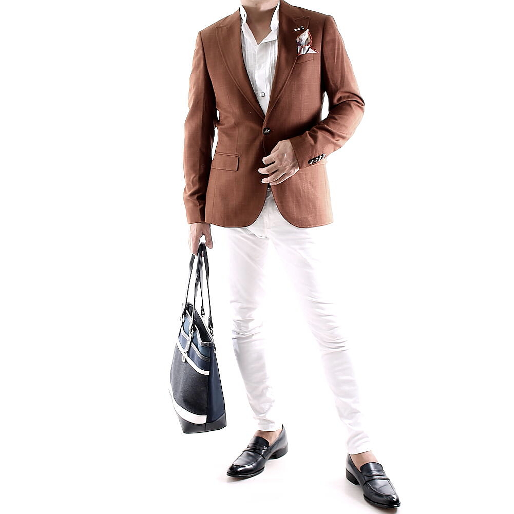 サマージャケット テーラードジャケット メンズ 茶色 ブレザー タイト/スリムフィット メンズ ジャケパン 夏/春/秋 大きいサイズも入荷 ビジネスジャケット サイドベンツ