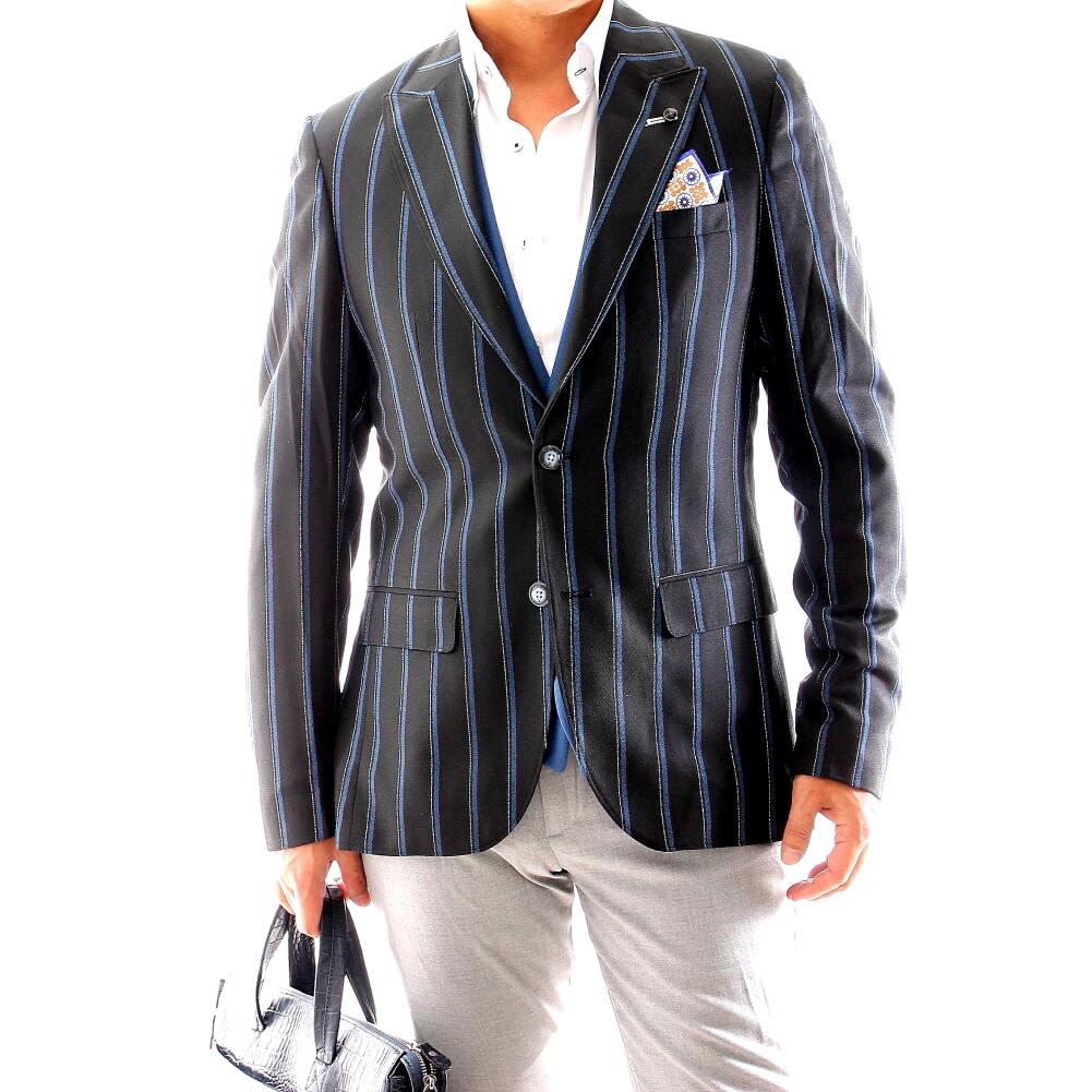 テーラードジャケット ストライプ 黒 春/秋/冬 メンズ ブレザー ジャケパン 二つボタン XXXL 大きいサイズも入荷 ビジネスジャケット