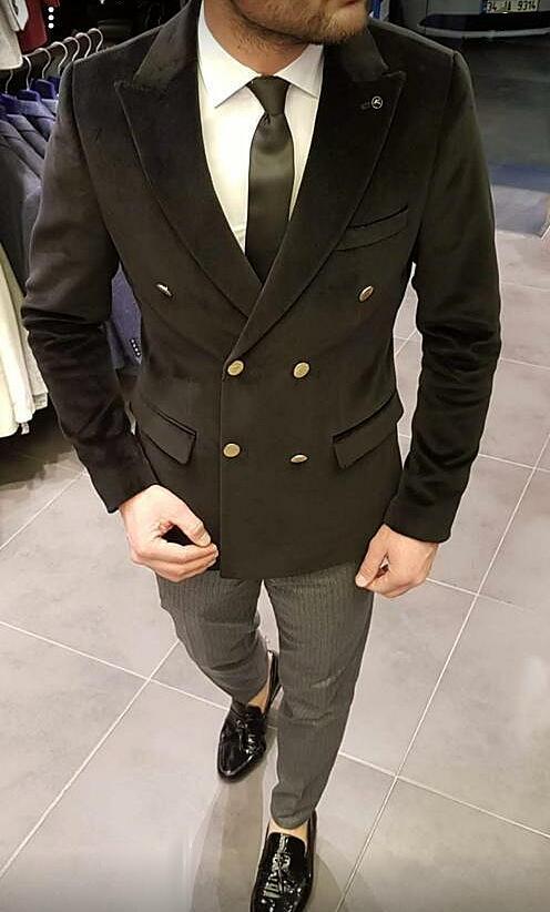 ベロア ベルベット ダブル テーラードジャケット ブレザー メンズ 黒 金ボタン タイト/スリムフィット ジャケパン 秋/冬 大きいサイズも入荷 ビジネスジャケット