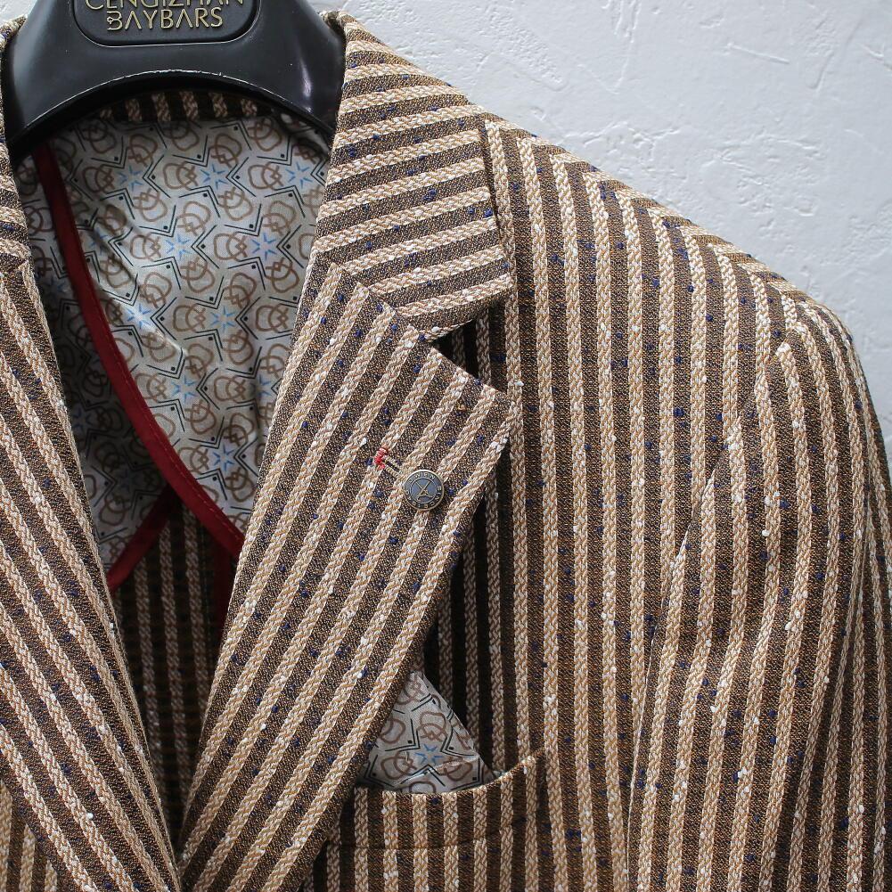 テーラードジャケットサマージャケット茶麻/リネンストライプブレザー背抜き春/夏/秋メンズジャケパンビジネスジャケット大きいサイズも入荷裏地無し