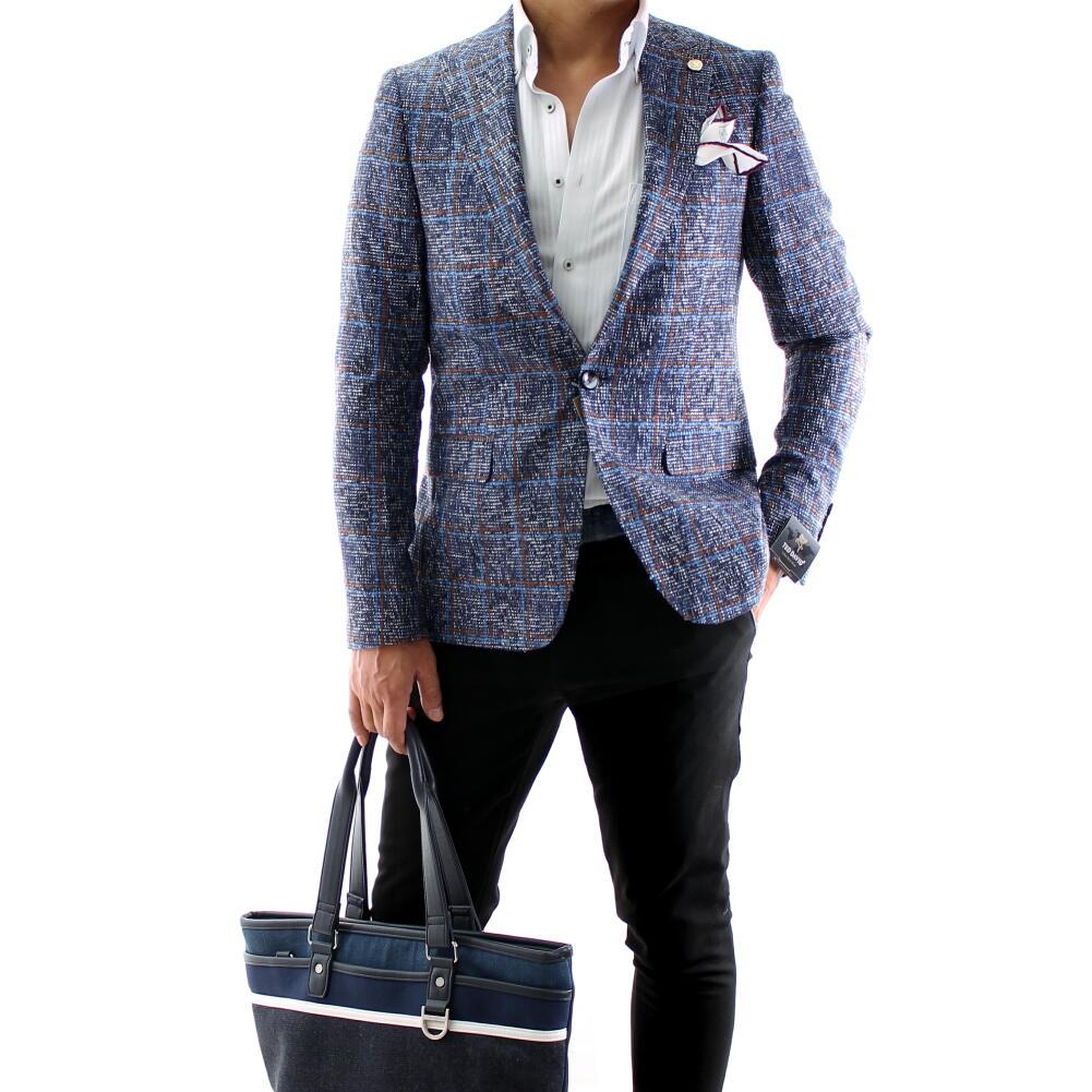 テーラードジャケットブルー チェック ツイード調 メンズ ブレザー ジャケパン 秋冬 大きいサイズも入荷 ビジネスジャケット 背抜き