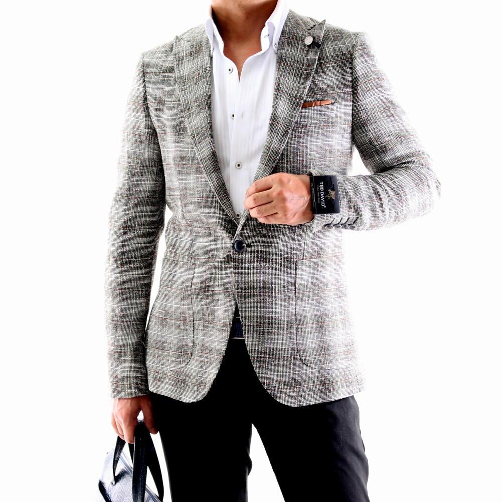 テーラードジャケットチェック ツイード メンズ ブレザー ジャケパン グレー 秋冬春 大きいサイズも入荷 ビジネスジャケット