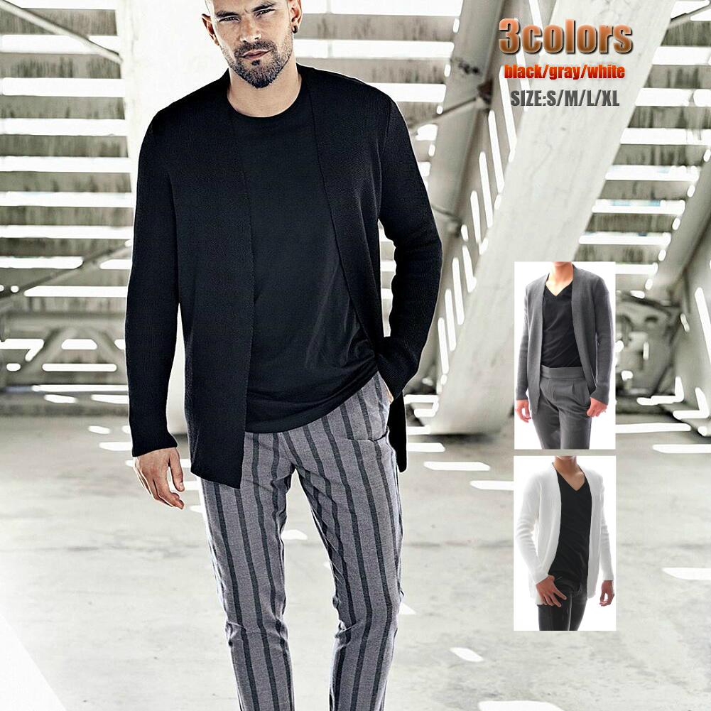 さっと羽織りやすいロングカーディガン ロングカーディガン メンズ 厚手 ニット デポー 正規激安 黒 グレー 白 セーター