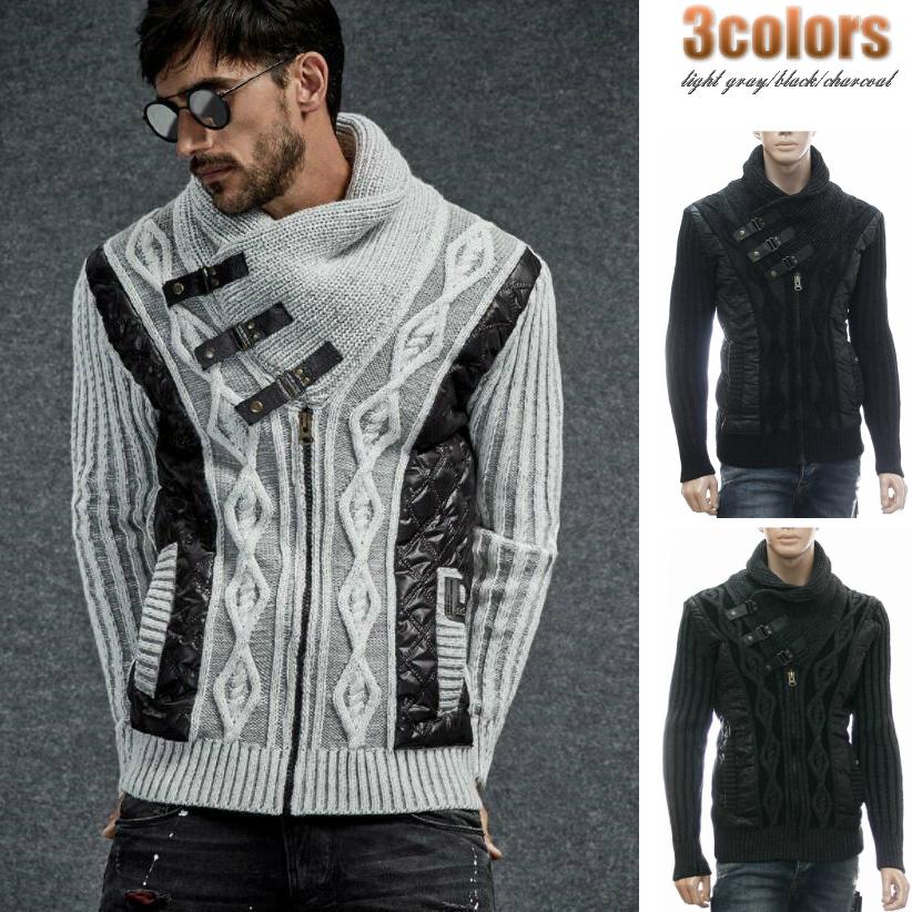 ハイネック ニットジャケット セーター メンズ ジップアップ グレー黒 XXL大きいサイズも入荷 ショールカラー アーガイル編み柄 秋冬
